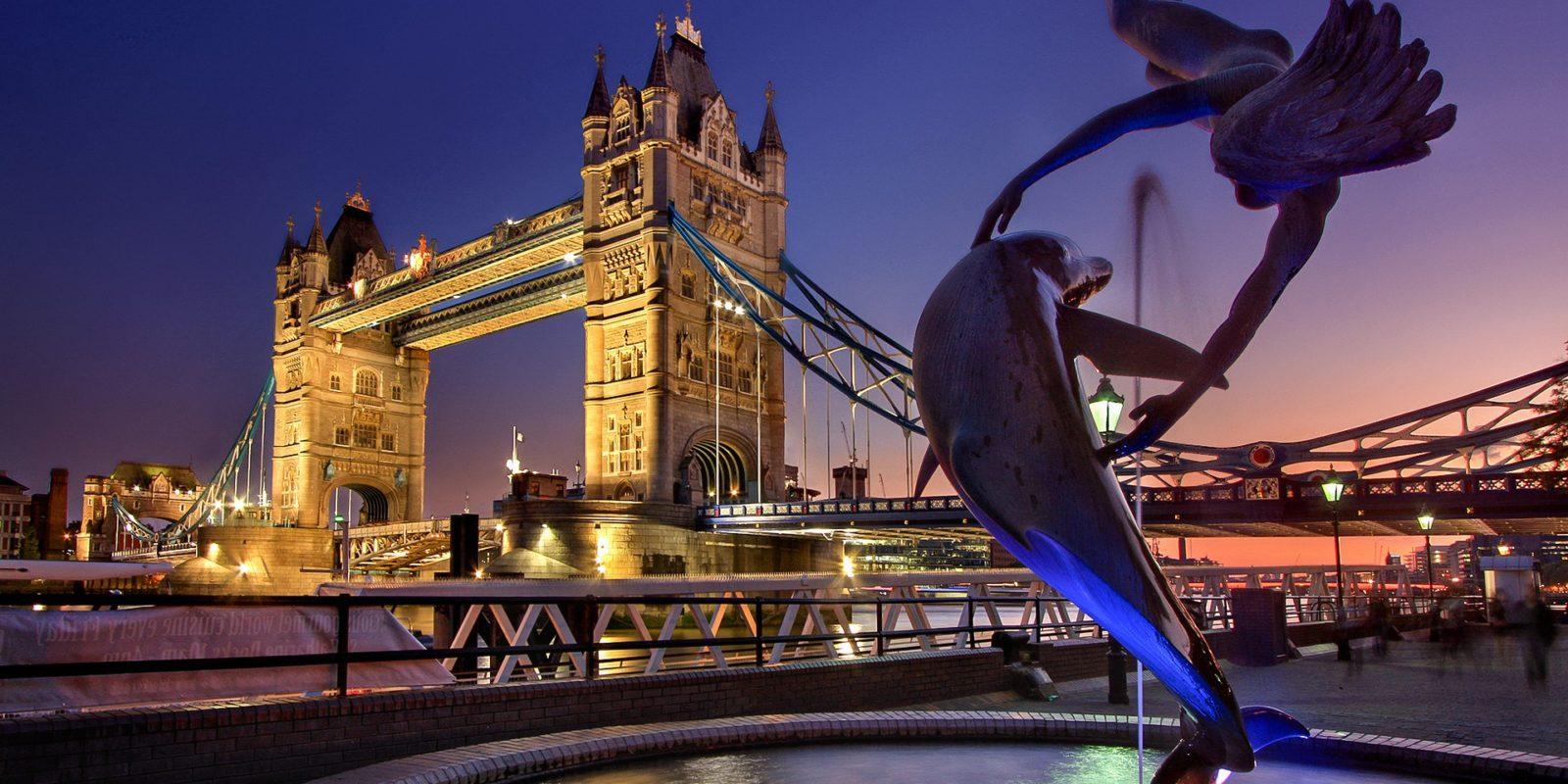 London Tower Bridge on the River Thames.
