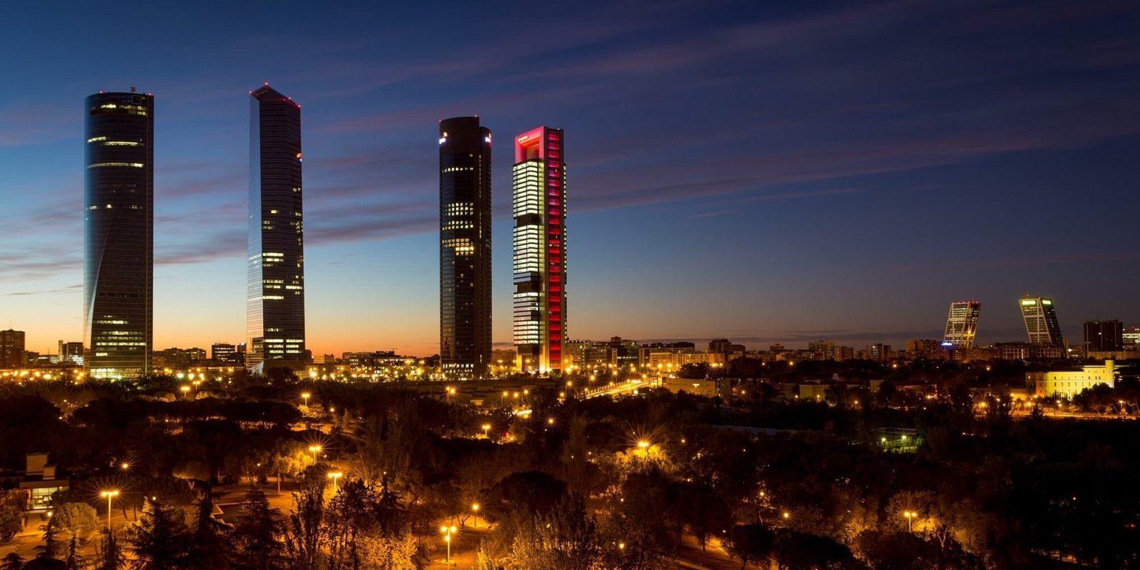 Night Skyline of Madrid, Spain.
