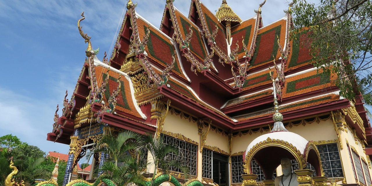 Ornate pagoda temple, Ko Samui, Thailand.